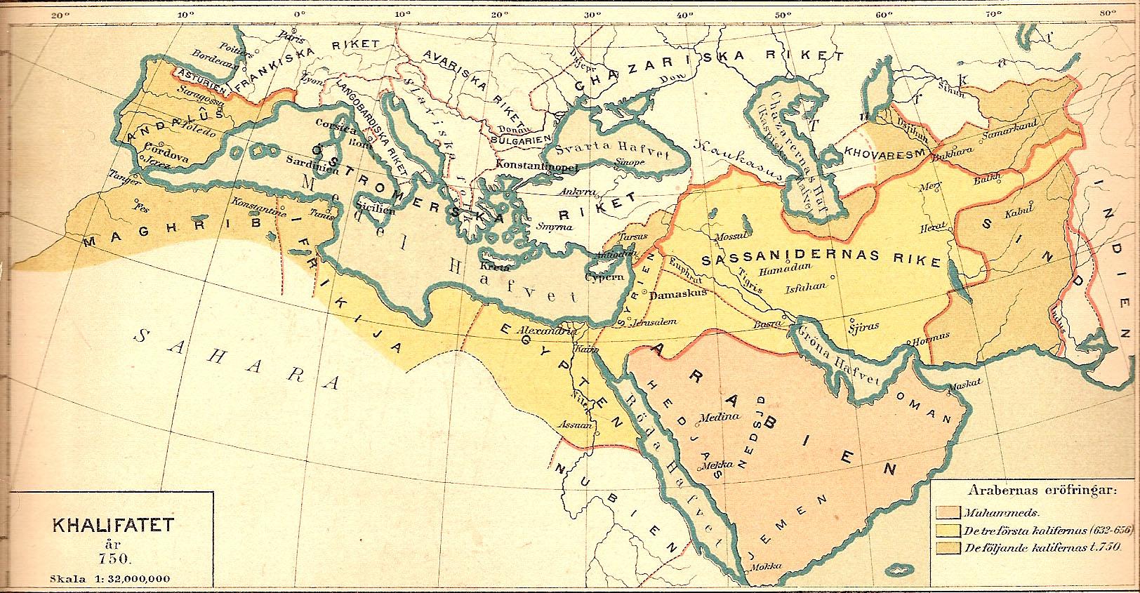 Kalifatet år 750 historisk karta