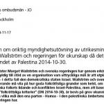 JO anmälan av utrikesminister Wallström och regeringen för okunskap om Hamas