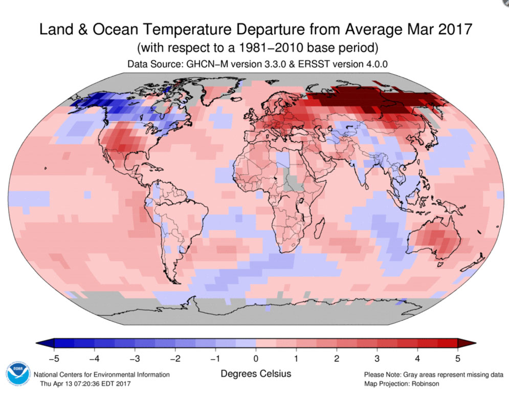 temp Diffference march 2017 NOAA